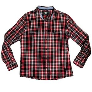 Roots Canada Mens Cotton Red Plaid Button Up XL